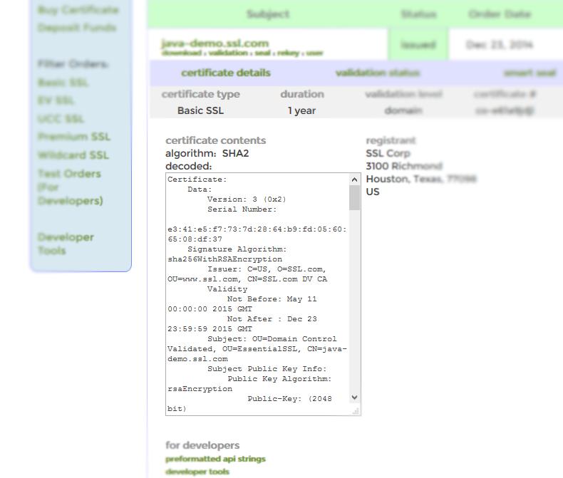 Certificate Order Page Information Ssl