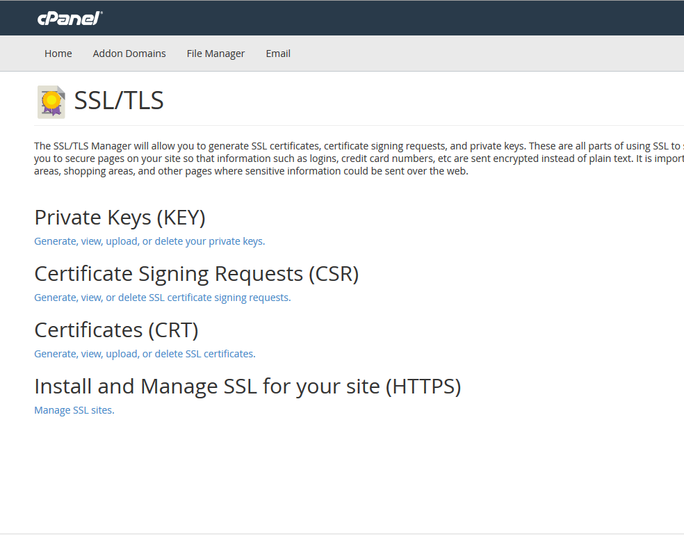 Use this menu to manage your SSL certificates.