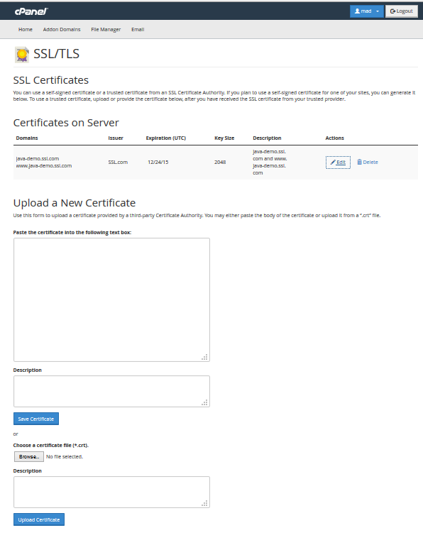 Certificate Upload