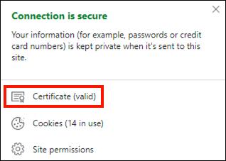 Certificate info from DV website