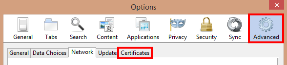 Select Advanced options and Certificates tab