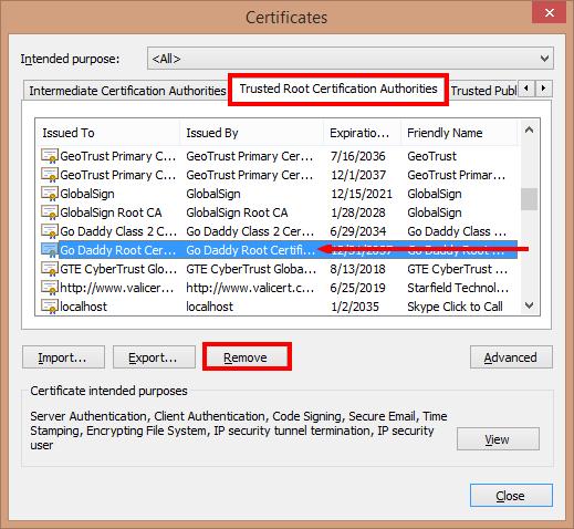 Certificates window