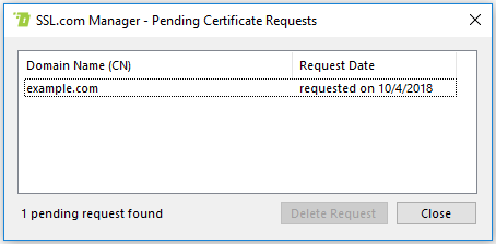View Pending Cert Requests Form