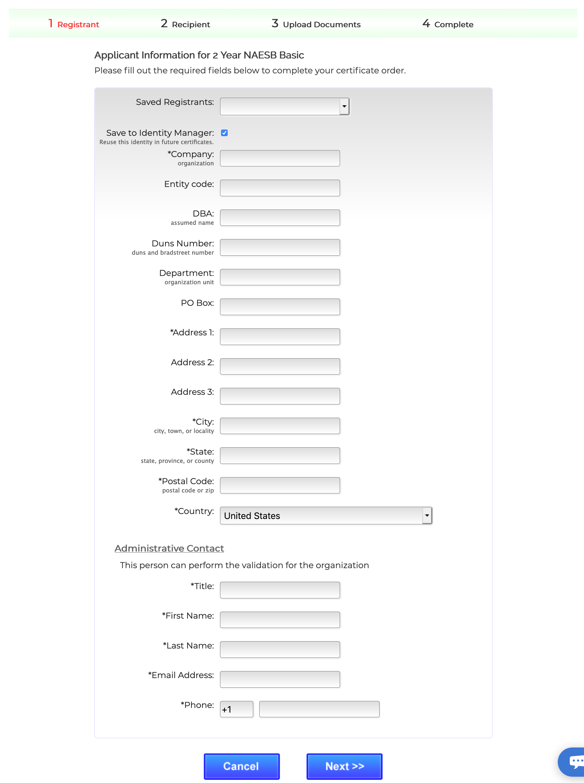 Enter registrant information