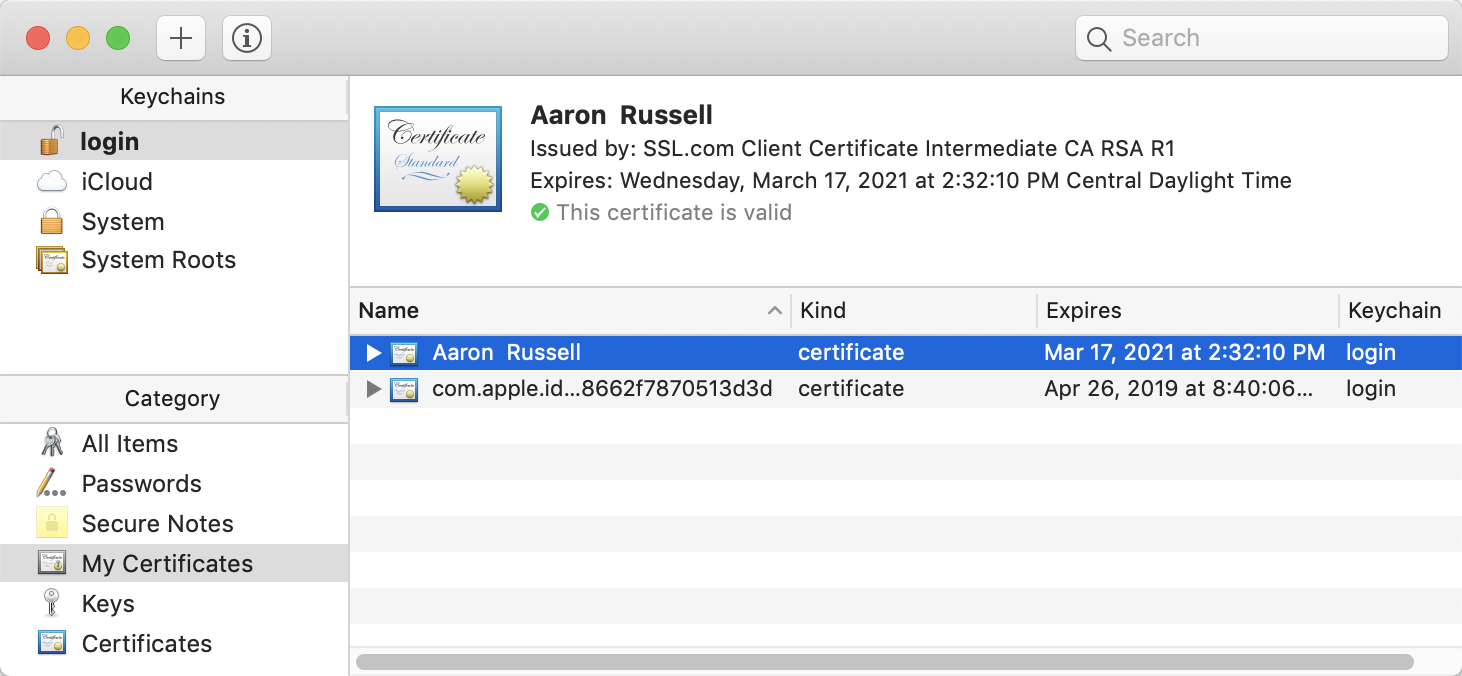Installed certificate