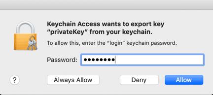 Enter keychain password