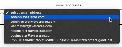 Select email address