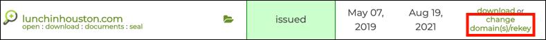 change domain(s)/rekey