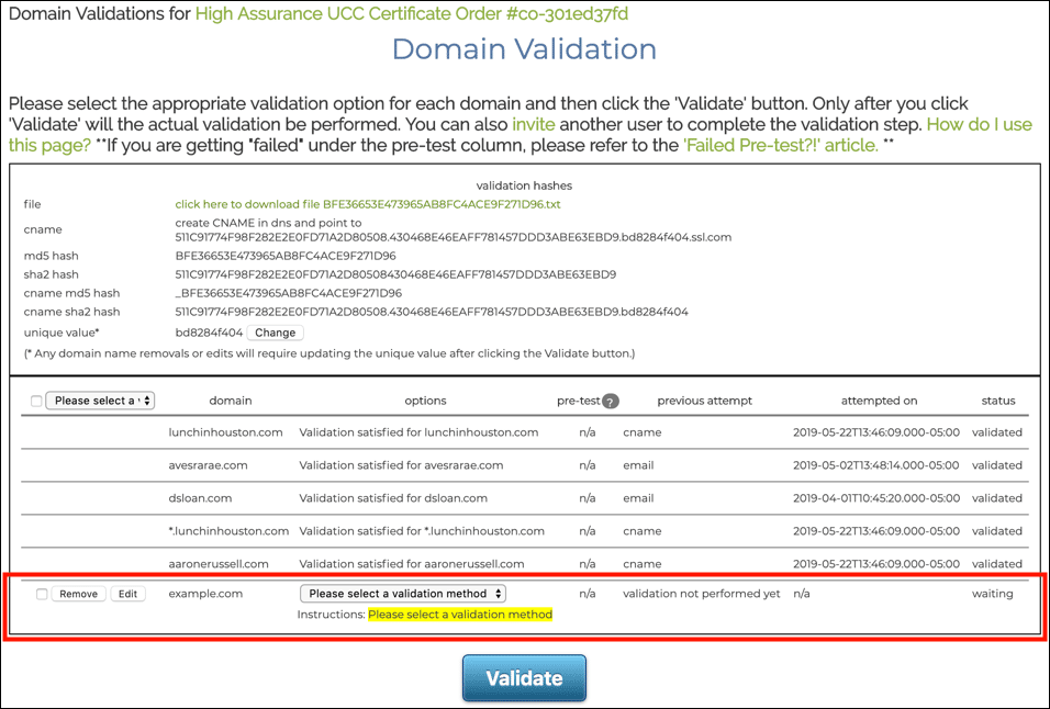 Domain Validation