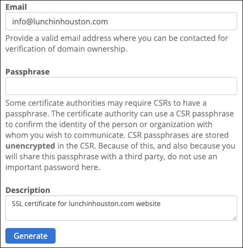 Enter email, passphrase, and description