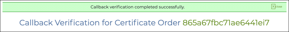 Callback verification completed successfully