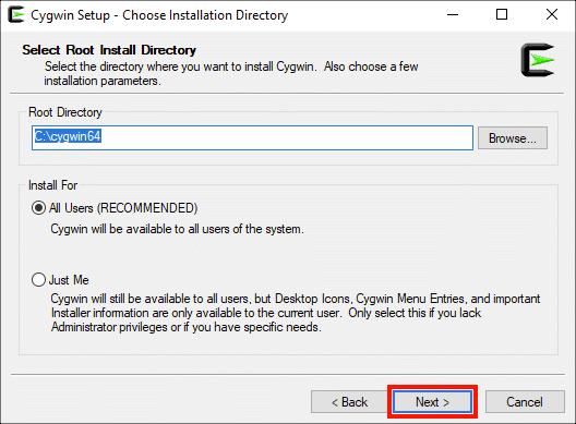 Choose Installation Directory