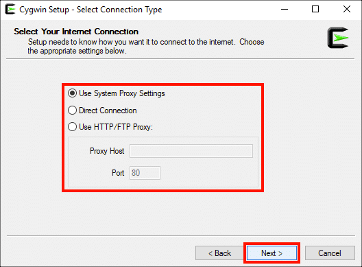 Select Connection Type