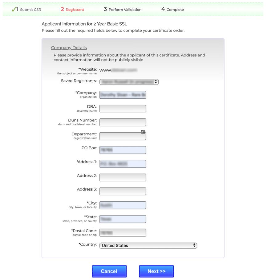 Enter company information