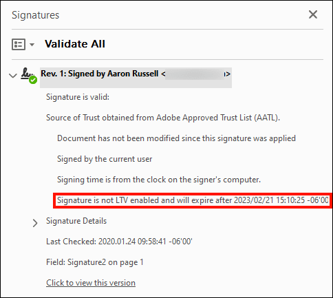 Signature is not LTV enabled