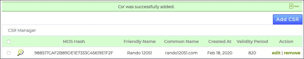 CSR successfully added