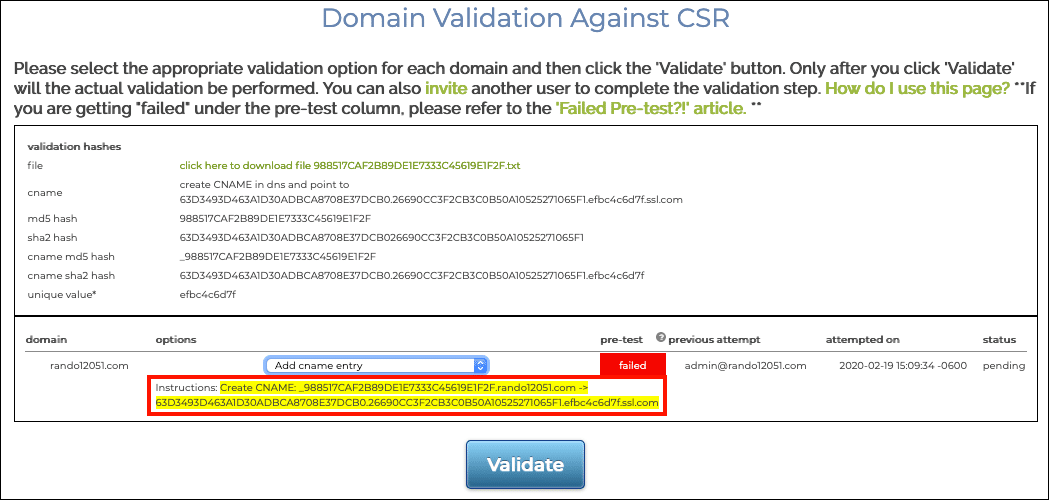 instructions for CNAME entry