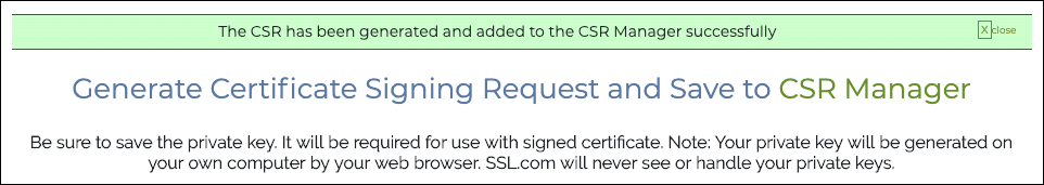 The CSR has been generated