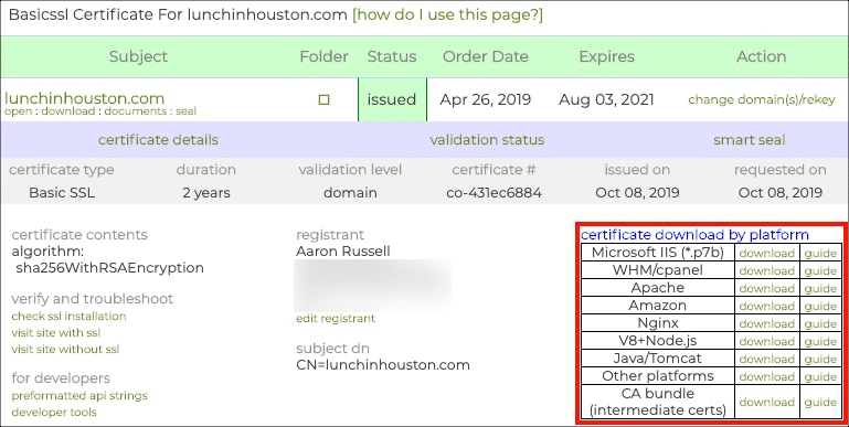 Certificate details and download links
