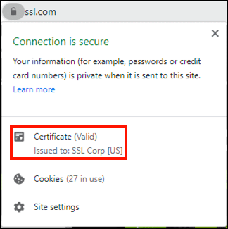 Certificate issued to SSL Corp