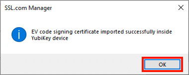 certificate successfully imported