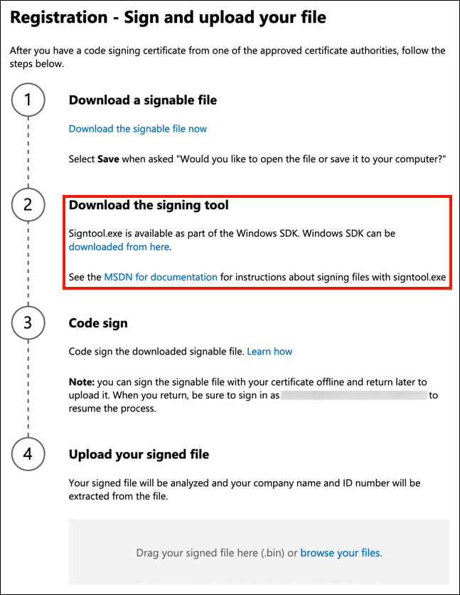 Download the signing tool