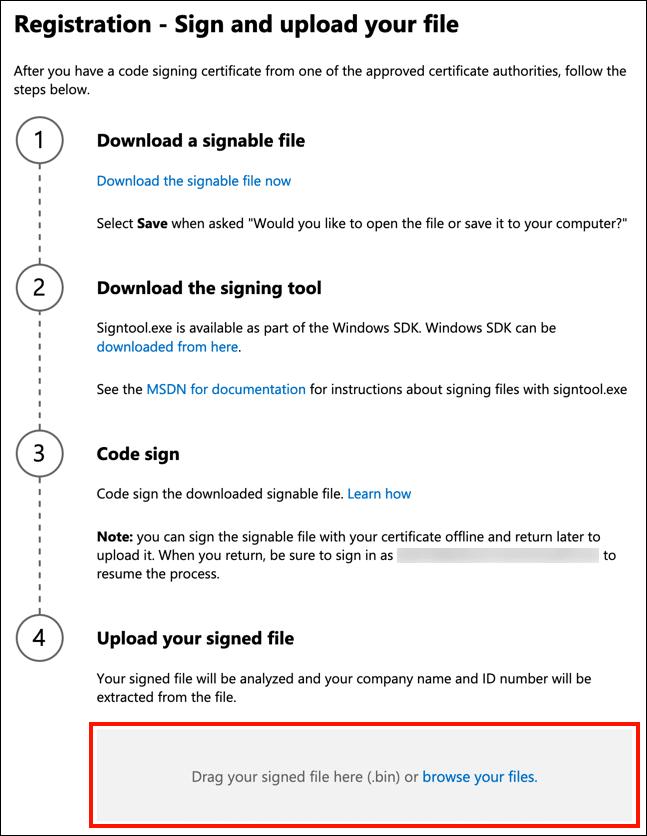 Upload signed file