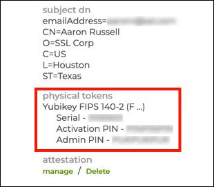 serial number, PIN and PUK